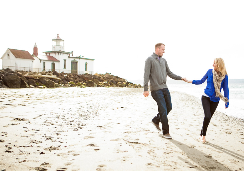 Clinton James Photography Engagement Session at Seattle Discovery Park with lighthouse beach historic buildings (8)