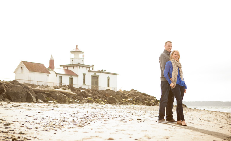 Clinton James Photography Engagement Session at Seattle Discovery Park with lighthouse beach historic buildings (7)