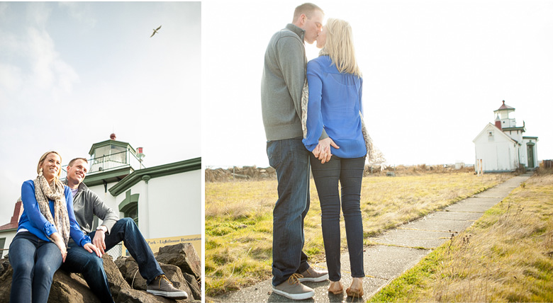 Clinton James Photography Engagement Session at Seattle Discovery Park with lighthouse beach historic buildings (5)