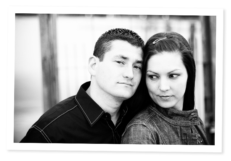 high contrast black and white engagement session picture