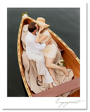 Kim and Andy share a romantic moment at sunset in a beautiful wooden boat.  Andy played his grandfather's vintage accordion, serenading Kim among paper lanterns as the sun set.