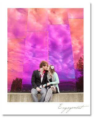 Engagement session in downtown Seattle, Experience Music Project EMP and Olympic sculpture park