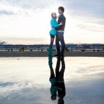 Seattle engagement session waterfront reflection