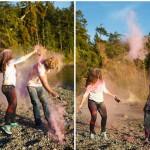 pnw engagement, beach engagement, golden light, northwest, engagement session, color run, color run powder, holi powder