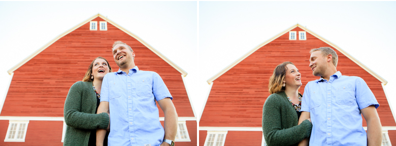 red barn laughing couple hovander engagement session