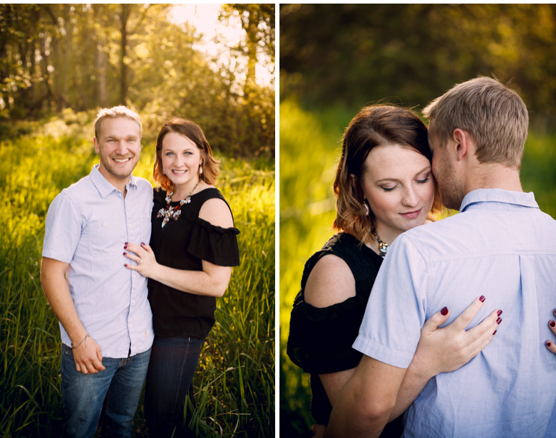 sunset in woods laughing couple hovander engagement session