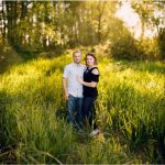 brenizer effect sunset in woods laughing couple hovander engagement session