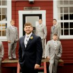 groomsmen picture in the winter at friday harbor wedding venue wedding photographer