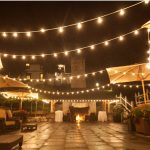 roche harbor night wedding with globe lights edison light