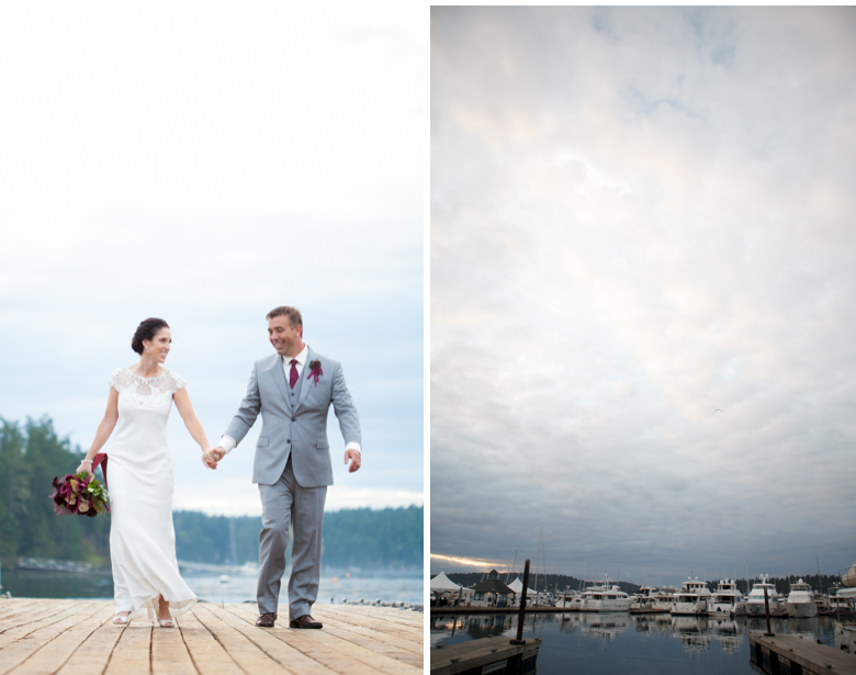 roche harbor marina winter wedding gray skies