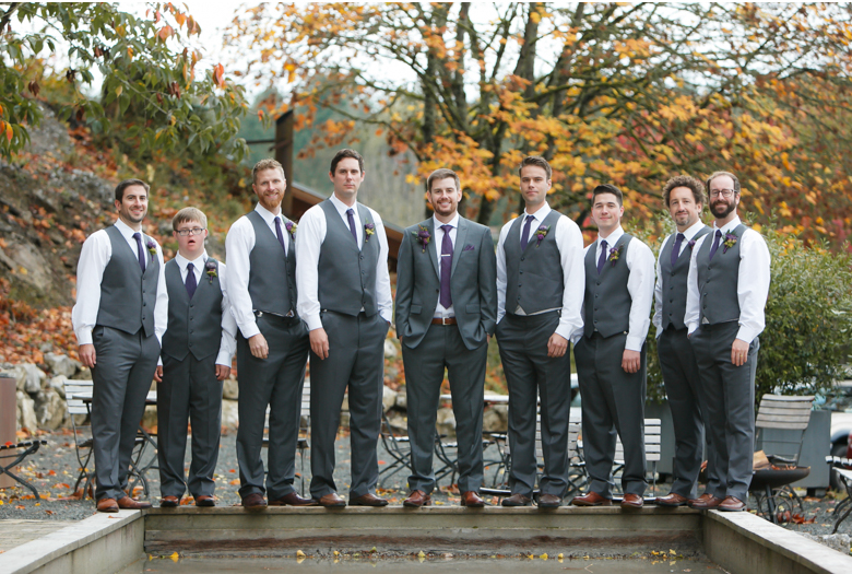 fall wedding photo with groomsmen and fall color inspiration
