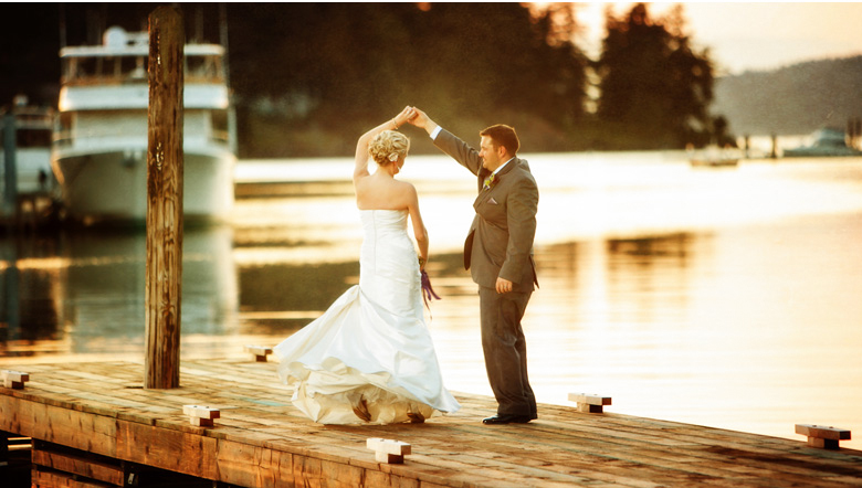 susnet dancing on the docks at roche harbor san juan island wedding