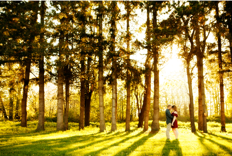 sunset in woods tall trees couple hovander engagement session