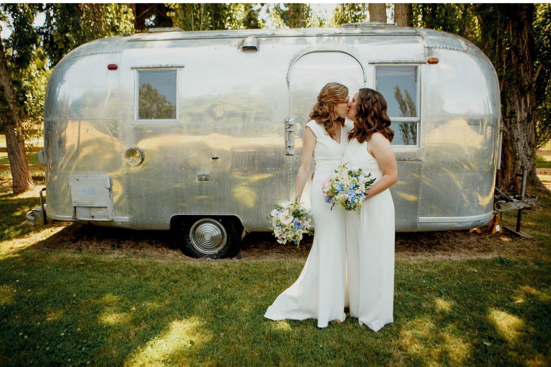 Whidbey island wedding photographer wayfarer farm photo inspiration same sex lesbian wedding airstream trailer