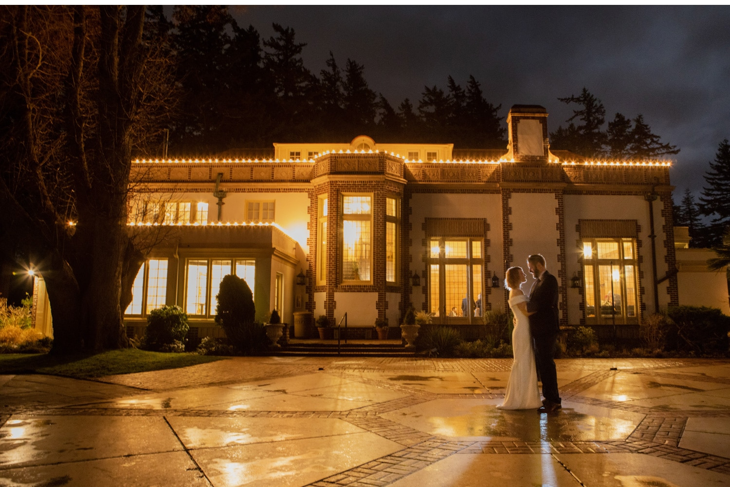 lairmont Manor wedding venue inspiration photo for bellingham photographer night portrait rim light